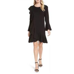 Halogen Ruffle Detail Knit Dress In Black